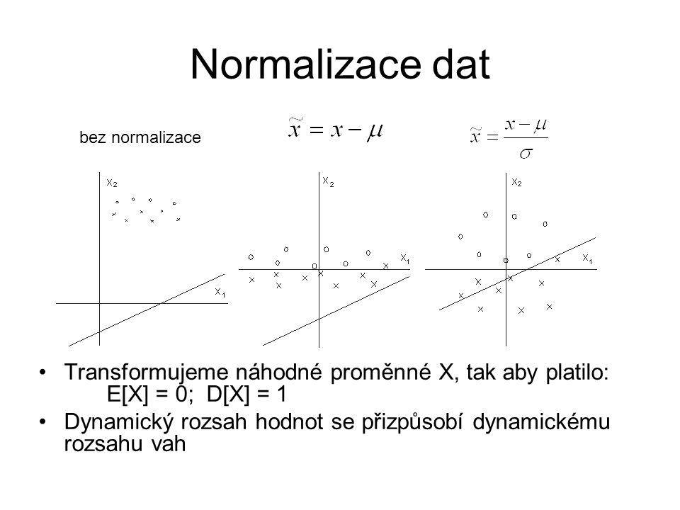 Normalizace dat bez normalizace. Transformujeme náhodné proměnné X, tak aby platilo: E[X] = 0; D[X] = 1.